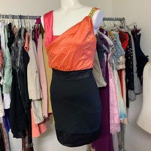NEW! XOXO Pink Orange Black Dress Sz 00